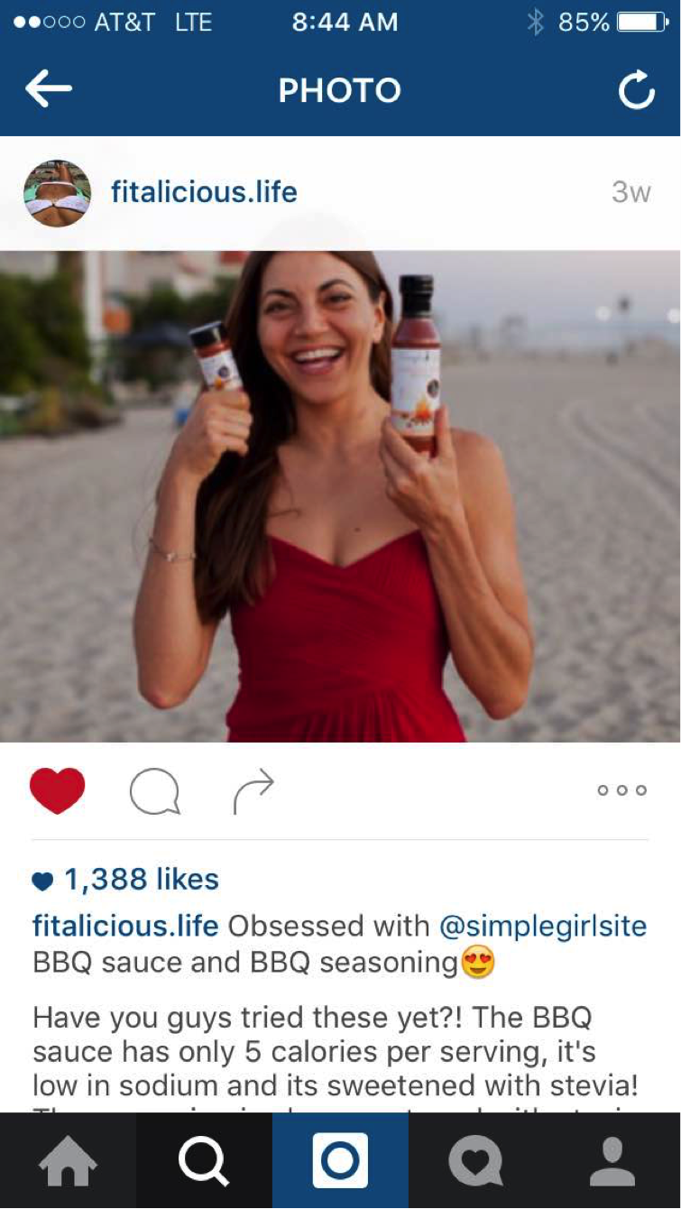 Screen shot of @fitalicious.life's post about the Simple Girl BBQ sauces. Notice the 1,388 likes.