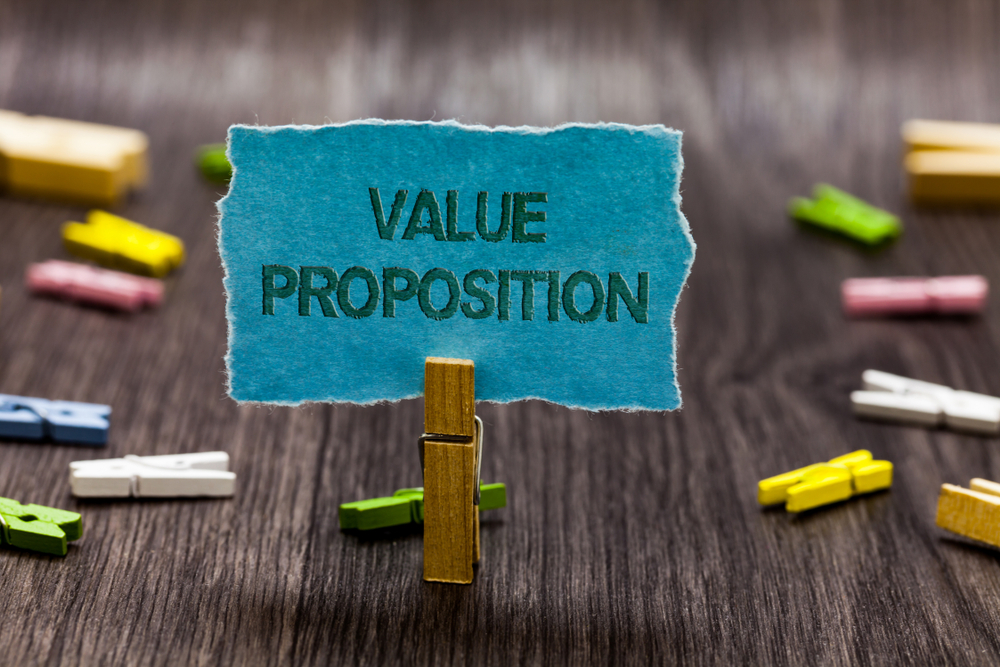 Text sign showing Value Proposition