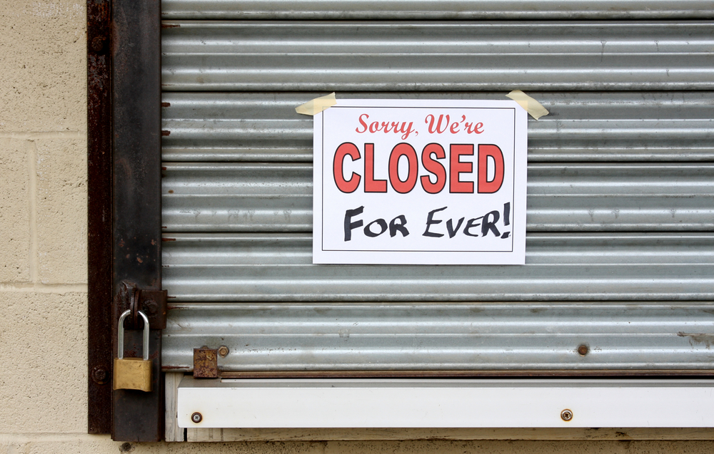 Locked door on a business that has gone bankrupt