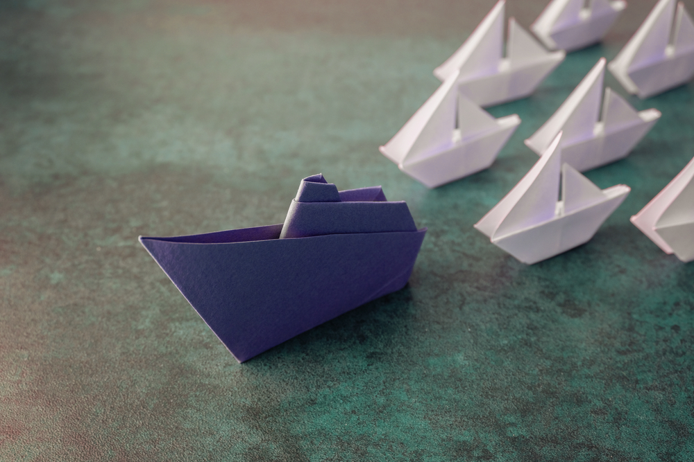 Origami paper ship boats, success leadership